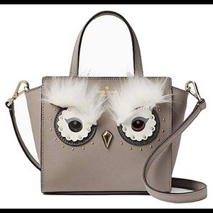 Kate Spade Owl Mini Handlee Grey Crossbody Purse